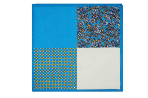 Multi Pattern Blue Silk Pocket Square