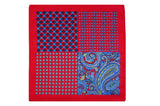 Multi Pattern Red Silk Pocket Square