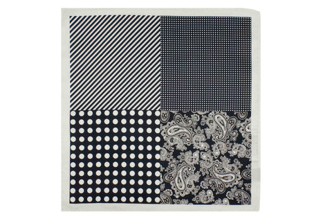 Multi Pattern White Silk Pocket Square