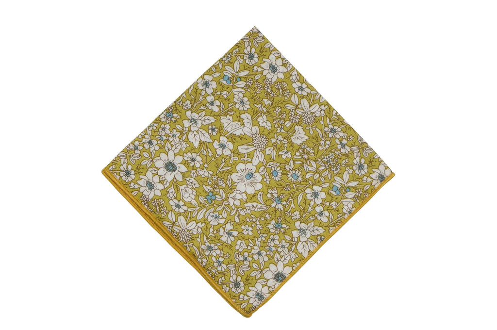 Mustard White Floral Cotton Pocket Square
