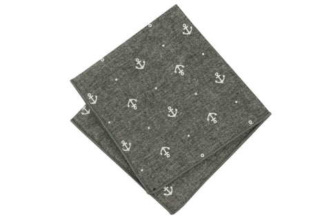 Nautical Gray Cotton Pocket Square