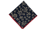 Navy Beige Floral Cotton Pocket Square