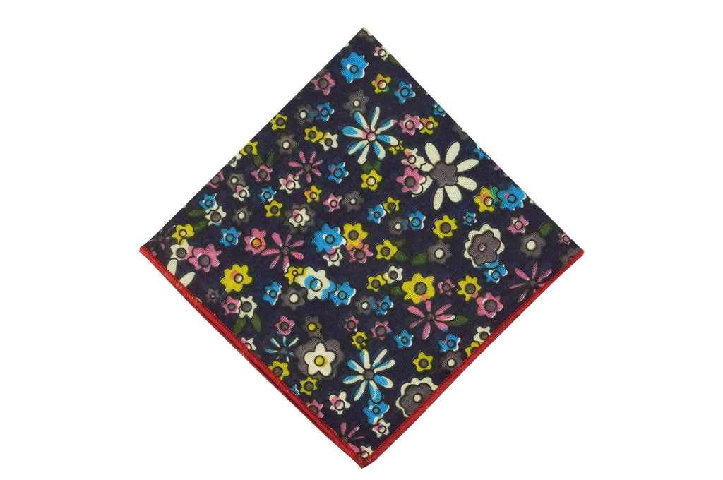 Navy Blossom Cotton Pocket Square