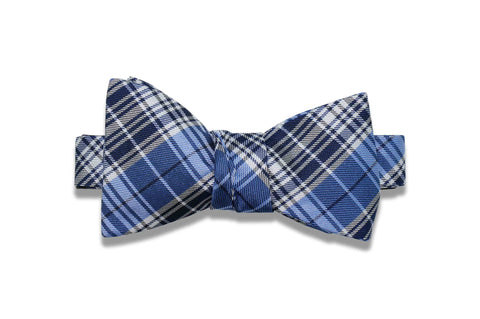 Navy Blue Plaid Silk Bow Tie (self-tie)