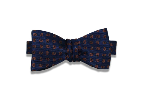 Navy Brown Paisley Silk Bow Tie