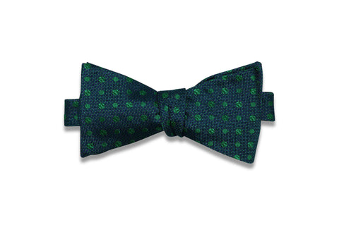 Navy Green Dots Silk Bow Tie (self-tie)