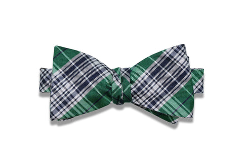 Navy Green Plaid Silk Bow Tie (self-tie)