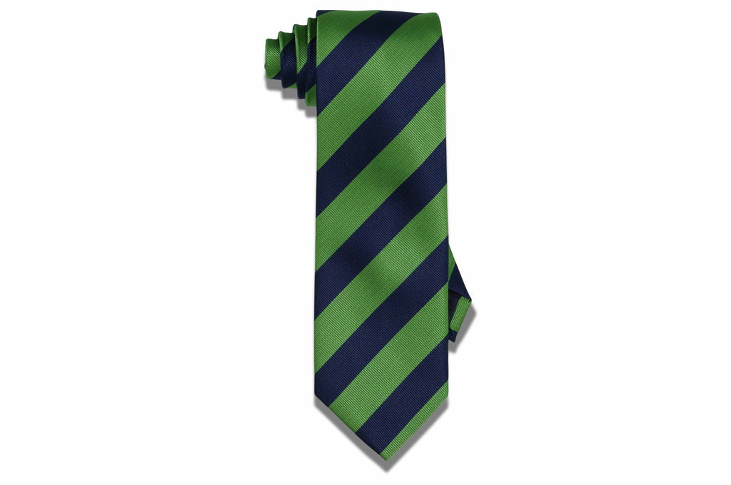 Navy Green Stripes Tie
