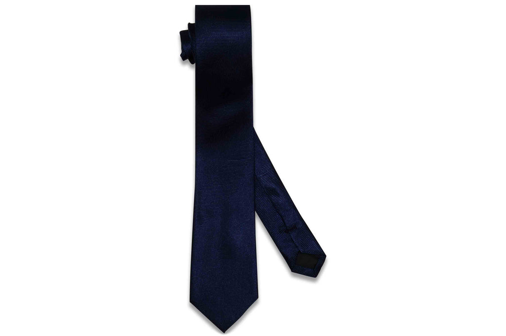 Navy Blue Herringbone Silk Skinny Tie