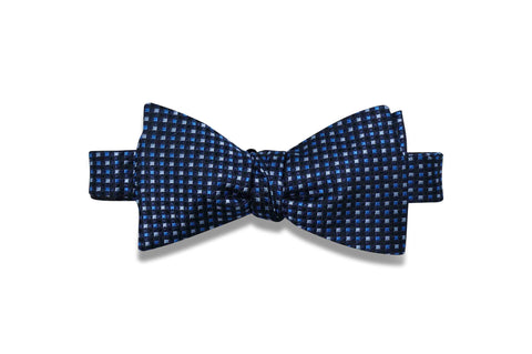 Navy Mini Squares Silk Bow Tie (self-tie)