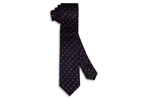 Navy Orange Flowers Silk Skinny Tie
