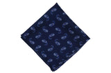 Navy Paisley Wool Pocket Square