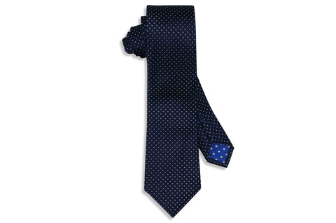 Navy Pin Dots Silk Skinny Tie