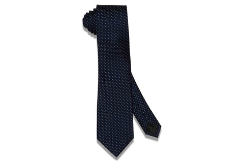 Navy Pin Dots Silk Tie