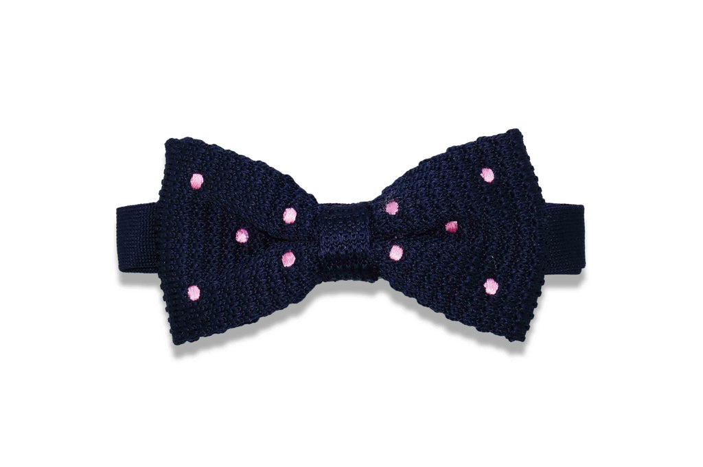 Navy Pink Dots Knitted Bow Tie (pre-tied)