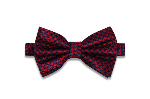 Navy Red Silk Bow Tie (pre-tied)