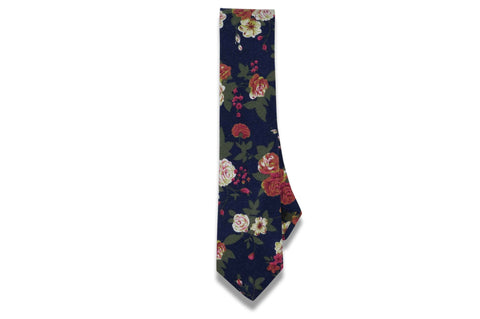 Navy Roses Cotton Skinny Tie