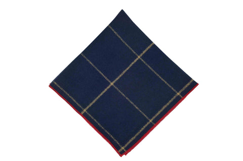 Navy Windowpane Cotton Pocket Square