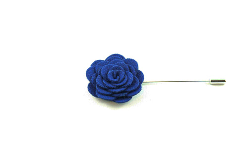Navy Blue Wool Lapel Flower