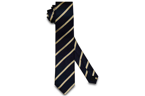 Navy Yellow Stripes Silk Skinny Tie