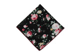Night Rose Floral Cotton Pocket Square