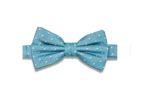 Ocean Blue Dotted Silk Bow Tie (Pre-Tied)