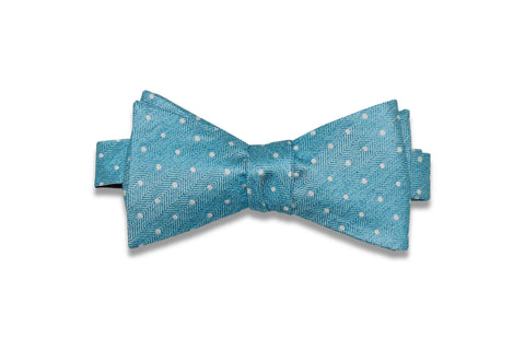 Ocean Blue Dotted Silk Bow Tie (Self-Tie)