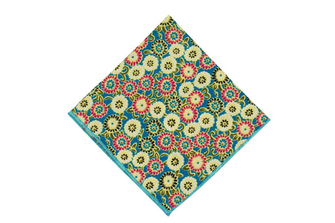 Ocean Flowers Cotton Pocket Square
