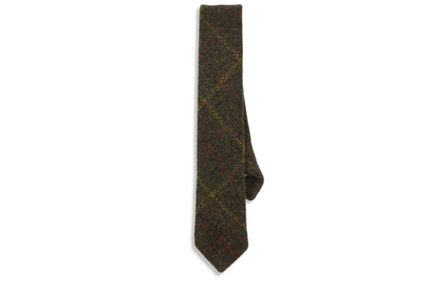 Olive Striped Wool Skinny Tie