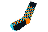 Orange Blue Blocks Men's Socks