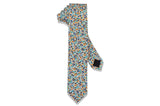 Orange Blue Floral Cotton Skinny Tie