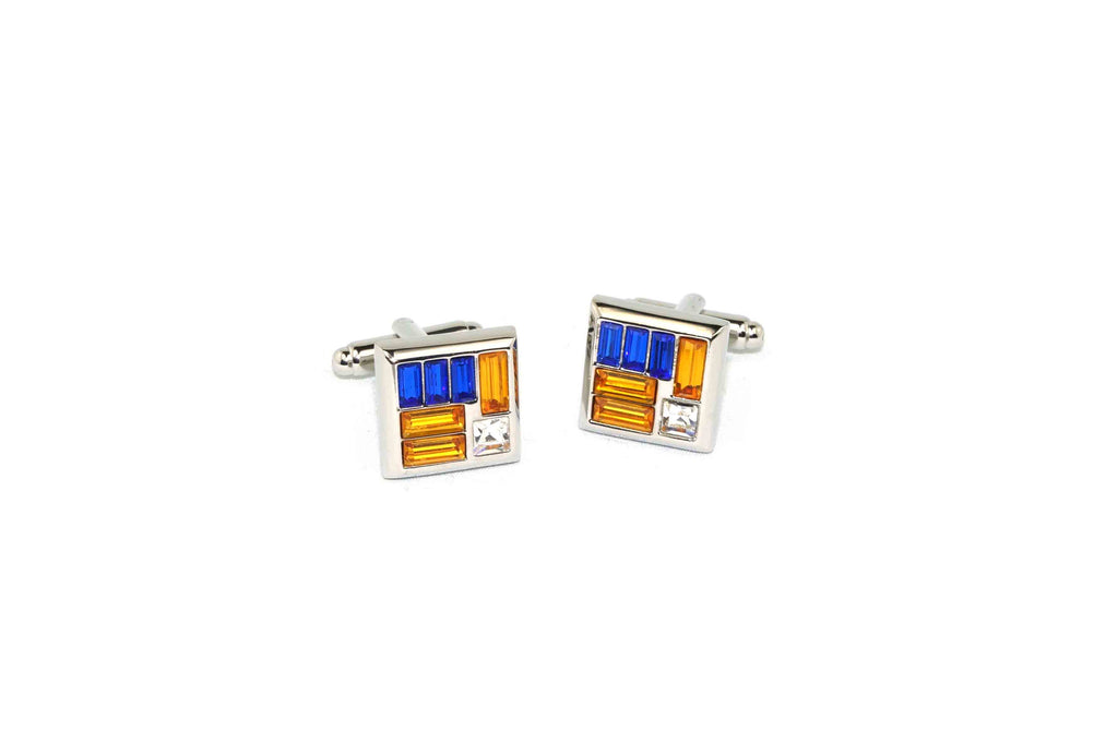 Orange Blue Stripe Crystal Cufflinks