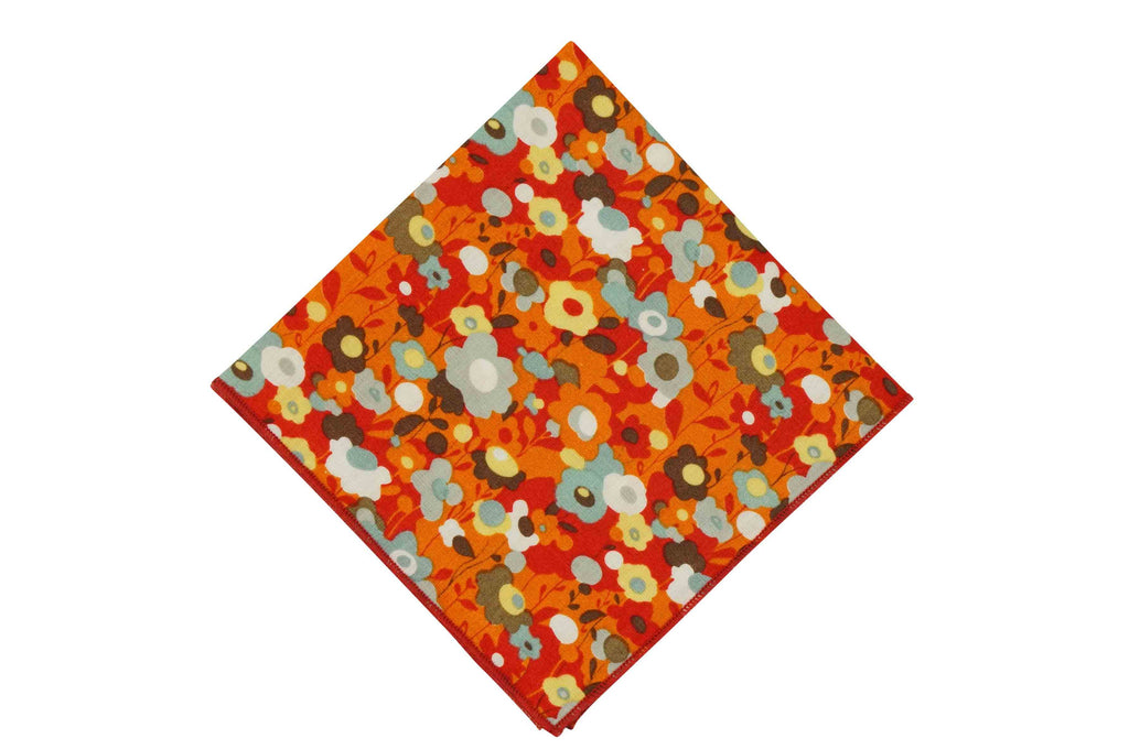 Orange Field Flowers Cotton Pocket Square