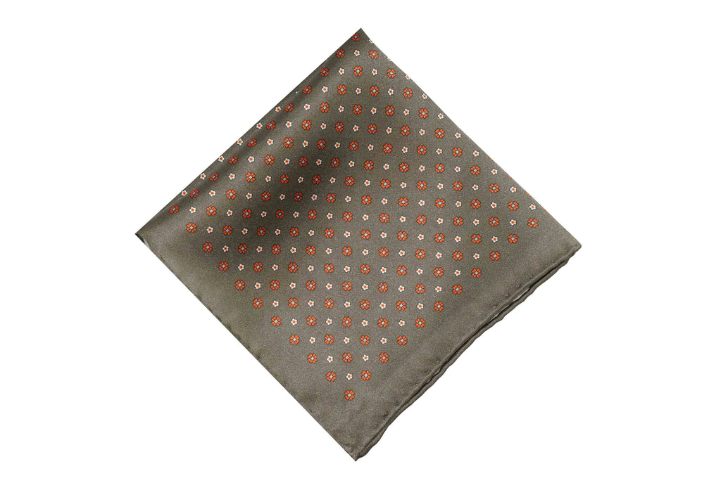 Orange Flowers Silk Pocket Square