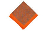 Orange Houndstooth Silk Pocket Square