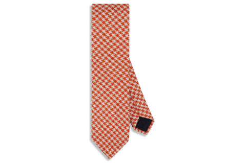 Orange Houndstooth Wool Skinny Tie