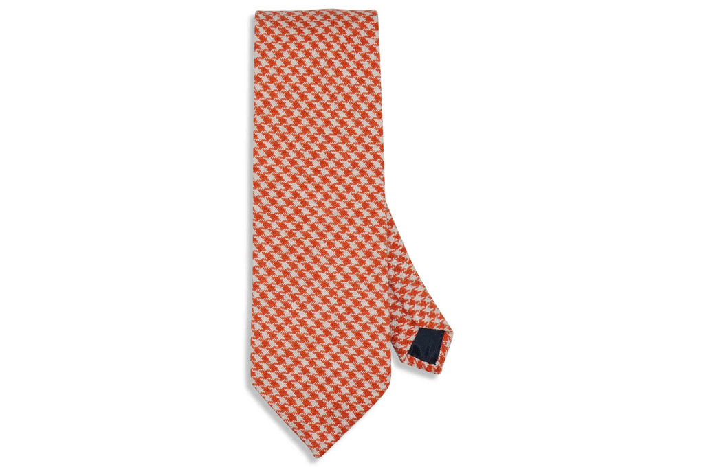 Orange Houndstooth Wool Tie