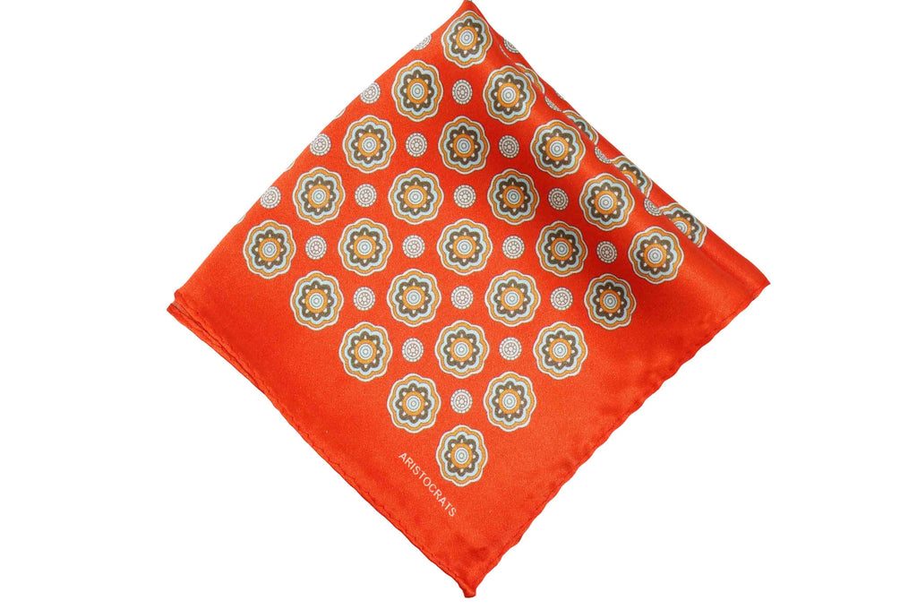 Orange Medal Silk Pocket Square