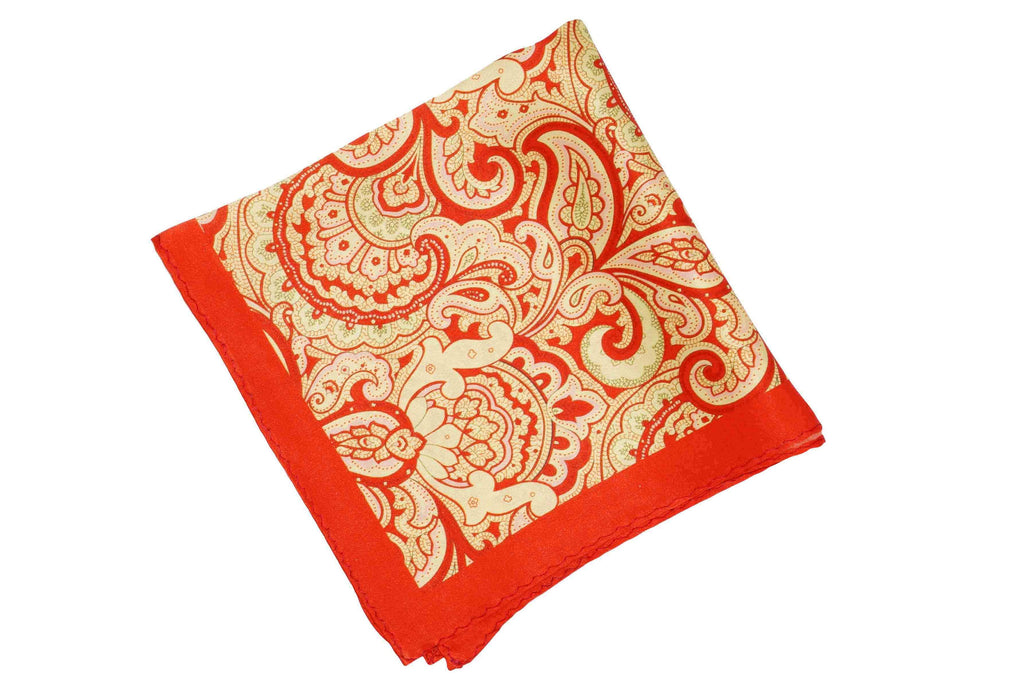Orange Paisley Silk Pocket Square