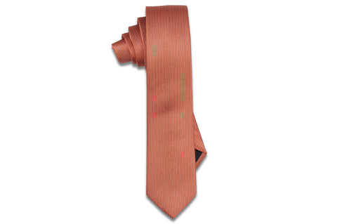 Orange Pin Stripes Silk Skinny Tie