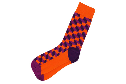 Orange Purple Blocks Men's Socks