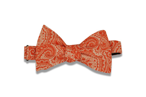 Orange Red Patterned Cotton Bow Tie (self-tie)