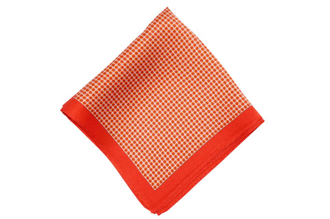 Orange White Squares Silk Pocket Square