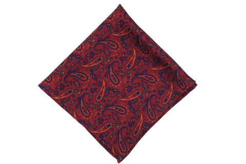 Paisley Field Fire Wool Pocket Square