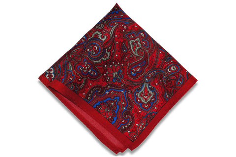 Paisley Fire Silk Pocket Square