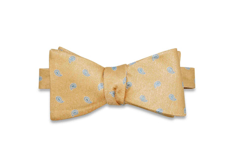 Paisley Gold Silk Bow Tie (self-tie)