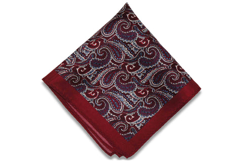 Paisley Maroon Silk Pocket Square