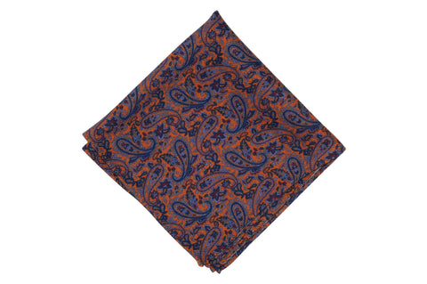 Paisley Orange Field Wool Pocket Square