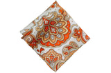 Paisley Orange Silk Pocket Square