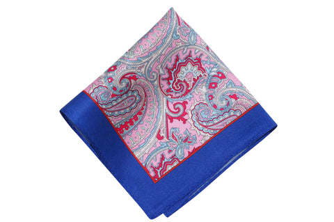 Paisley Pink Blue Silk Pocket Square